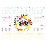 2017 Kalendermalplaatje Kalender voor het jaar van 2017 Stock Fotografie