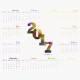 2017 Kalendermalplaatje Kalender voor het jaar van 2017 Vectorontwerp stat Stock Foto's