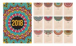 Kalendermandala 2018 Royalty-vrije Stock Fotografie