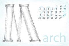 Kalendermarschbleistift-Handabgehobener betrag Lizenzfreie Abbildung