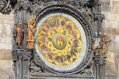 Kalendern av Prague den astronomiska klockan Arkivfoto