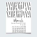 Kalendern den 2018 år vektorn med handen drog texturer, vecka startar söndag Arkivfoton