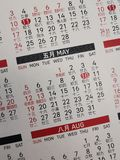 Kalendern & x28en; May& x29; royaltyfri bild