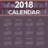Kalendern för det mörka purpurfärgade bokhyllor begreppet för arkivet för 2018 startar den tryckbara söndag royaltyfri illustrationer