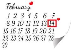 Kalendern för Februari markerade valentins dag Arkivfoto