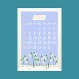 Kalendern för mars 2017 med snödroppar blommar på blå bakgrund Arkivfoto