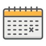 Kalendern fyllde det översiktssymbolen, tid och datumet stock illustrationer