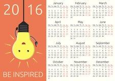 Kalendern 2016, inspireras royaltyfri illustrationer