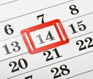 Kalendern med rött markerar på 14 Februari Arkivfoto