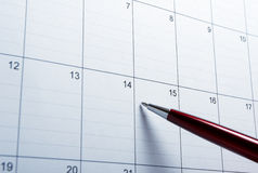 Kalendernahaufnahme Stockfoto