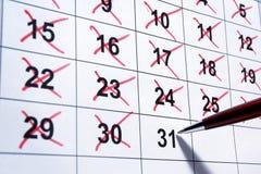 Kalendernahaufnahme Lizenzfreies Stockfoto