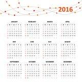Kalendernet voor 2016 Royalty-vrije Stock Afbeeldingen