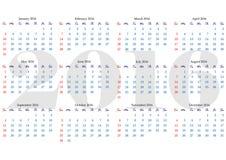 Kalendernet voor het jaar van 2016 met duidelijke weekenddagen Royalty-vrije Stock Fotografie