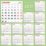2017 Kalenderontwerp De week begint van Maandag Royalty-vrije Stock Afbeelding