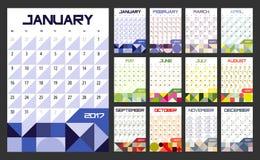Kalenderontwerper voor 2017 Royalty-vrije Stock Afbeelding