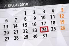 Kalenderontwerper voor de maand, uiterste termijndag van de week, 2018 24 augustus, Vrijdag Royalty-vrije Stock Fotografie