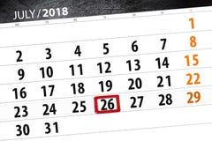 Kalenderontwerper voor de maand, uiterste termijndag van de week, donderdag, 2018 26 juli Royalty-vrije Stock Foto