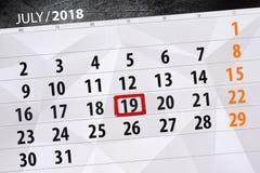 Kalenderontwerper voor de maand, uiterste termijndag van de week, donderdag 2018 19 juli Royalty-vrije Stock Afbeelding