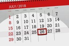 Kalenderontwerper voor de maand, uiterste termijndag van de week, donderdag, 2018 26 juli Stock Foto