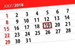 Kalenderontwerper voor de maand, uiterste termijndag van de week, donderdag, 2018 19 juli Stock Afbeelding