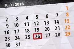 Kalenderontwerper voor de maand, uiterste termijndag van de week, donderdag, 2018 26 juli Royalty-vrije Stock Afbeelding