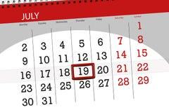 Kalenderontwerper voor de maand, uiterste termijndag van de week, donderdag, 2018 19 juli Stock Foto's