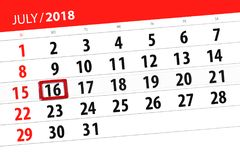 Kalenderontwerper voor de maand, uiterste termijndag van de week, maandag, 2018 16 juli Stock Fotografie