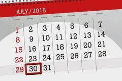 Kalenderontwerper voor de maand, uiterste termijndag van de week, maandag, 2018 30 juli Royalty-vrije Stock Foto's
