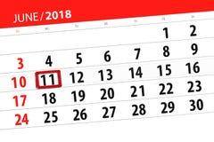 Kalenderontwerper voor de maand, uiterste termijndag van de week, maandag, 2018 11 juni Royalty-vrije Stock Afbeelding