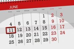 Kalenderontwerper voor de maand, uiterste termijndag van de week, maandag, 2018 11 juni Stock Foto's