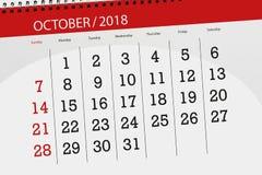 Kalenderontwerper voor de maand, uiterste termijndag van de week 2018 oktober stock afbeeldingen