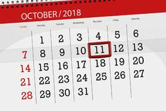 Kalenderontwerper voor de maand, uiterste termijndag van de week 2018 11 oktober, Donderdag royalty-vrije stock foto