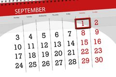 Kalenderontwerper voor de maand, uiterste termijndag van de week, 2018 1 september, Zaterdag royalty-vrije stock foto's