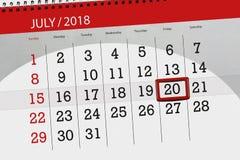 Kalenderontwerper voor de maand, uiterste termijndag van de week, vrijdag, 2018 20 juli Royalty-vrije Stock Foto's