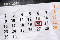 Kalenderontwerper voor de maand, uiterste termijndag van de week, vrijdag 2018 20 juli Stock Foto
