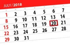 Kalenderontwerper voor de maand, uiterste termijndag van de week, vrijdag, 2018 20 juli Stock Fotografie
