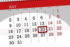 Kalenderontwerper voor de maand, uiterste termijndag van de week, vrijdag, 2018 20 juli Stock Afbeeldingen