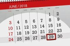 Kalenderontwerper voor de maand, uiterste termijndag van de week, vrijdag, 2018 29 juni Royalty-vrije Stock Fotografie