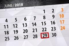 Kalenderontwerper voor de maand, uiterste termijndag van de week, vrijdag, 2018 29 juni Royalty-vrije Stock Foto's