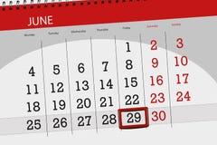 Kalenderontwerper voor de maand, uiterste termijndag van de week, vrijdag, 2018 29 juni Stock Afbeelding