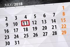 Kalenderontwerper voor de maand, uiterste termijndag van de week, woensdag, 2018 11 juli Stock Foto