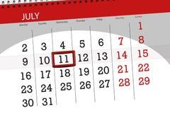 Kalenderontwerper voor de maand, uiterste termijndag van de week, woensdag, 2018 11 juli Stock Afbeelding