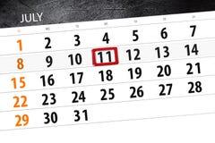 Kalenderontwerper voor de maand, uiterste termijndag van de week, woensdag, 2018 11 juli Stock Fotografie