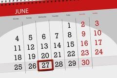 Kalenderontwerper voor de maand, uiterste termijndag van de week, woensdag, 2018 27 juni Royalty-vrije Stock Foto's