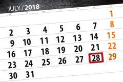 Kalenderontwerper voor de maand, uiterste termijndag van de week, zaterdag, 2018 28 juli Royalty-vrije Stock Afbeelding