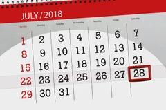 Kalenderontwerper voor de maand, uiterste termijndag van de week, zaterdag, 2018 28 juli Royalty-vrije Stock Afbeeldingen