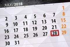 Kalenderontwerper voor de maand, uiterste termijndag van de week, zaterdag, 2018 28 juli Stock Fotografie