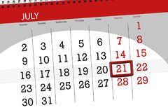 Kalenderontwerper voor de maand, uiterste termijndag van de week, zaterdag, 2018 21 juli Stock Foto's