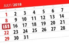 Kalenderontwerper voor de maand, uiterste termijndag van de week, zondag, 2018 15 juli Stock Foto's