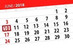 Kalenderontwerper voor de maand, uiterste termijndag van de week, zondag, 2018 10 juni Stock Foto